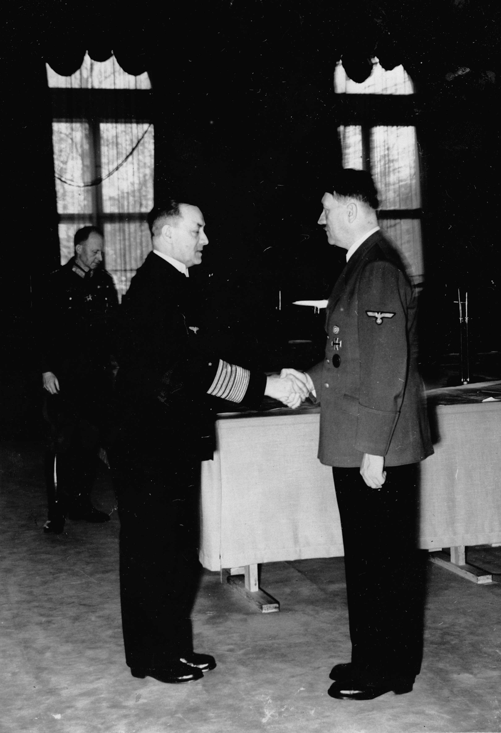 Erich Raeder congratulates Adolf Hitler for his 51st birthday