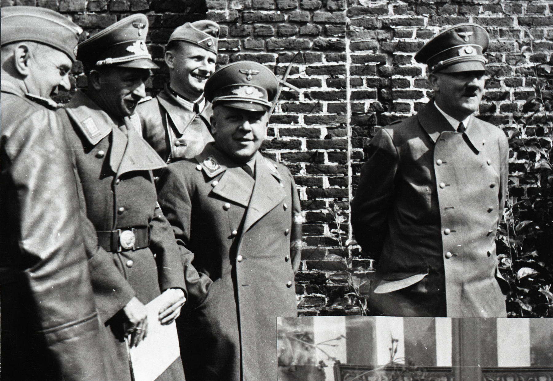 Max Amann, Ernst Schmidt and Adolf Hitler at their former regiment building in Fournes en Weppes, from Eva Braun's albums