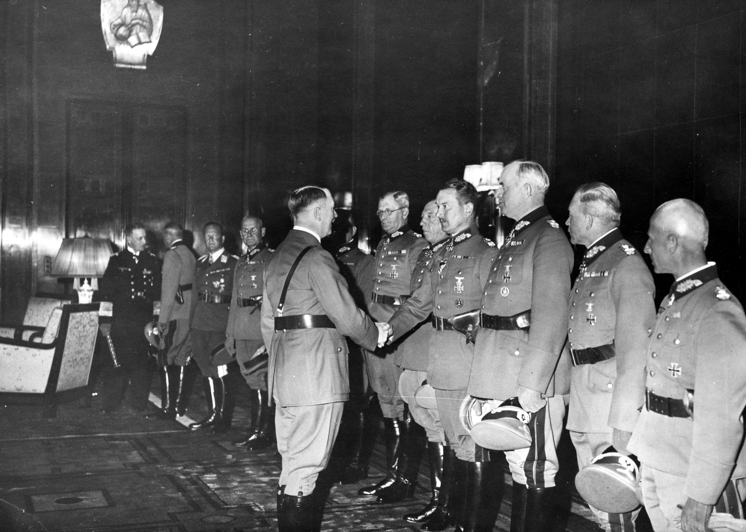 Adolf Hitler greeting the newly appointed field marshalls