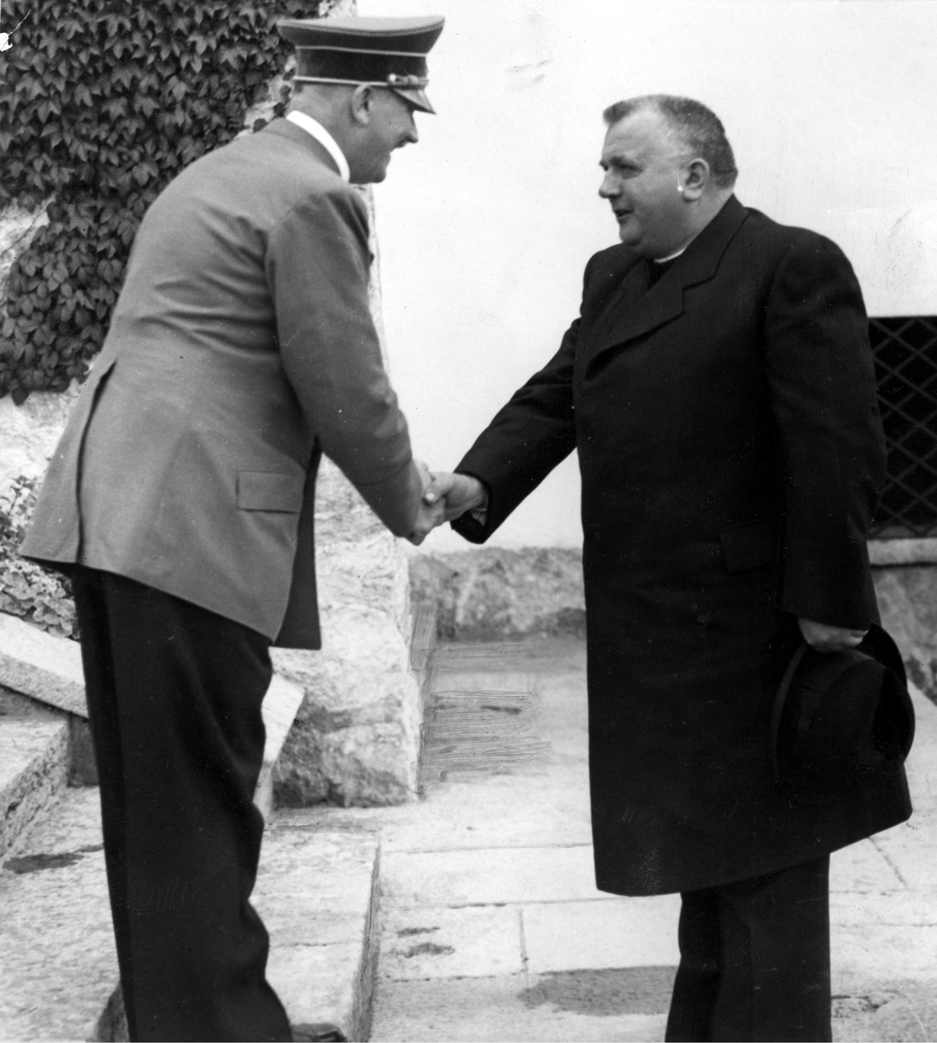 Adolf Hitler welcoming the Slovak President Dr. Jozef Tiso in front of the Berghof