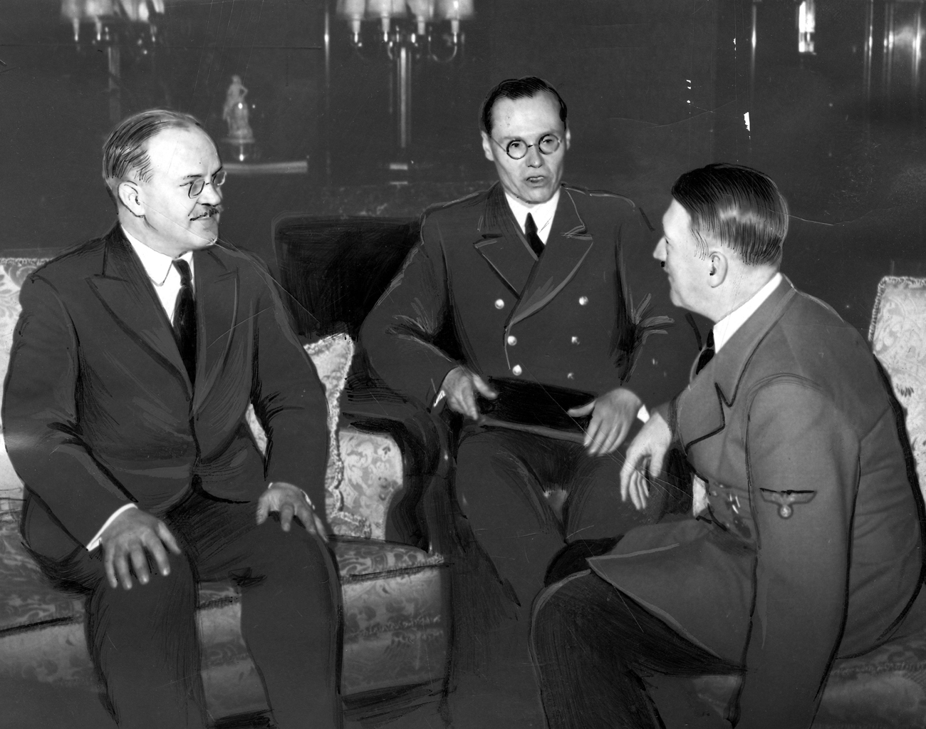 Adolf Hitler and Soviet Foreign Minister Vyacheslav Molotov meeting in Berlin