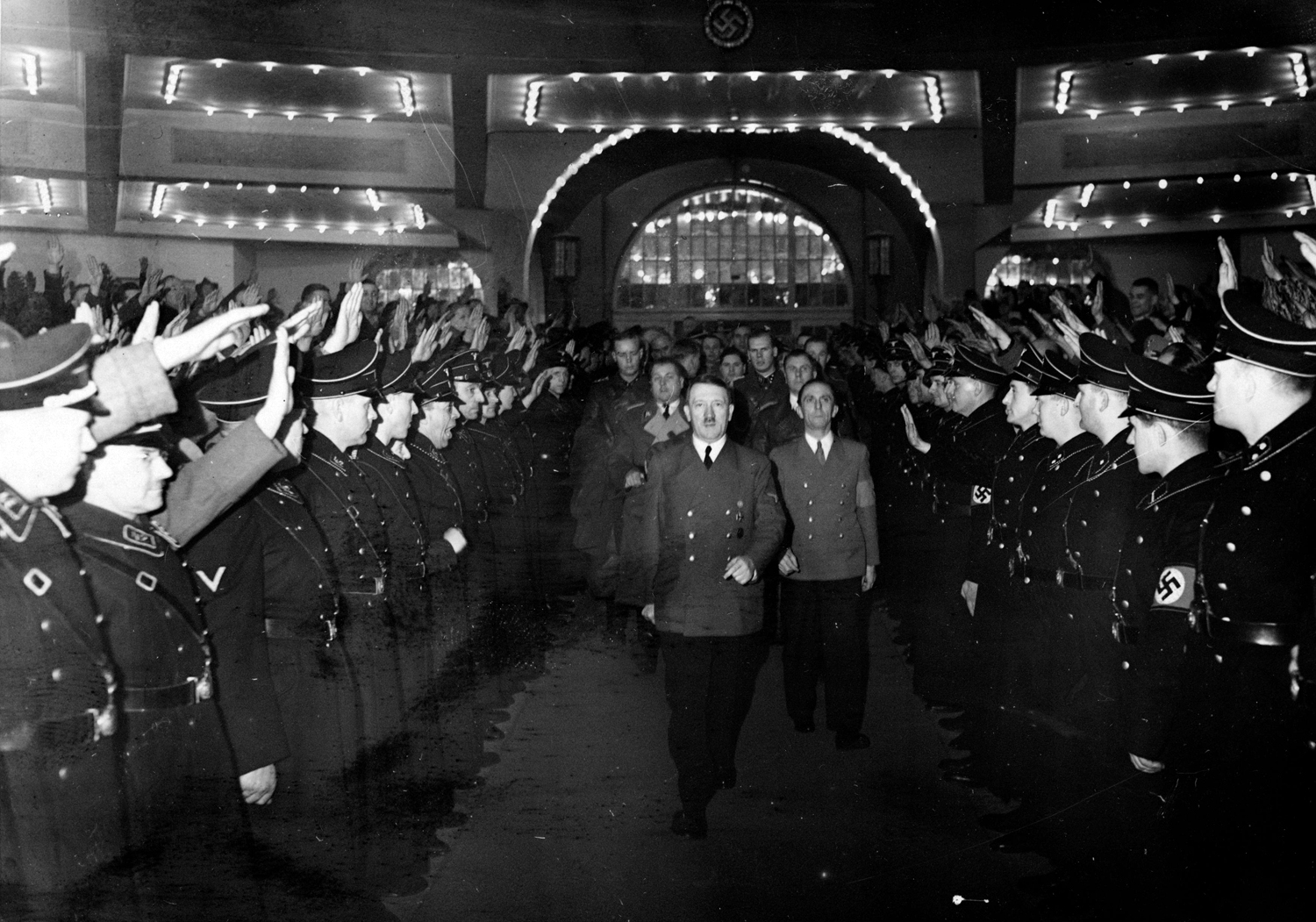 Adolf Hitler and Joseph Goebbels arrive at Berlin's Sportpalast for the 30th January celebration