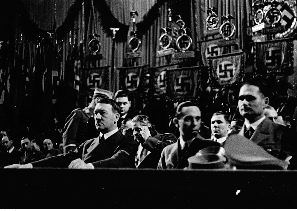 Adolf Hitler, Joseph Goebbels and Rudolf Hess in Berlin's Sportpalast for the commemoration of the Machtergreifung (take of power)