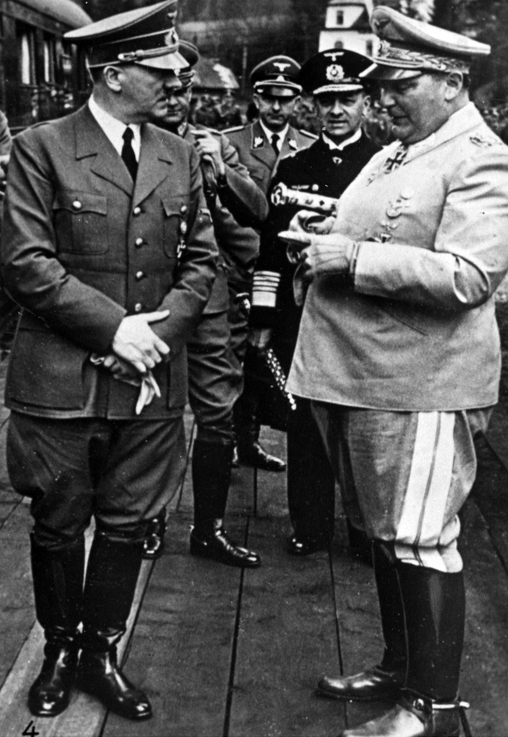 Hitler's staff gathered near the Sonderzug for his 52th Birthday