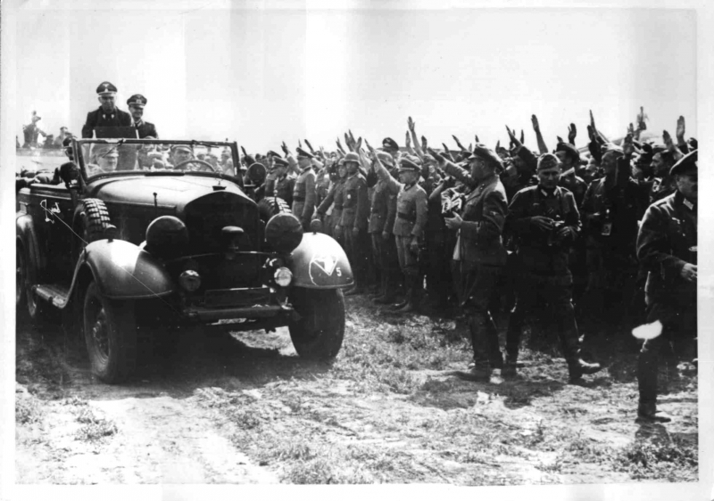Hitler and Mussolini on their way to review Italian troops in the Ukraine