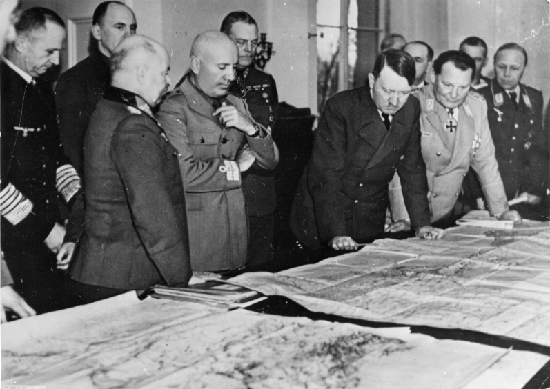 Adolf Hitler with Benito Mussolini and generals in Schloss Klessheim