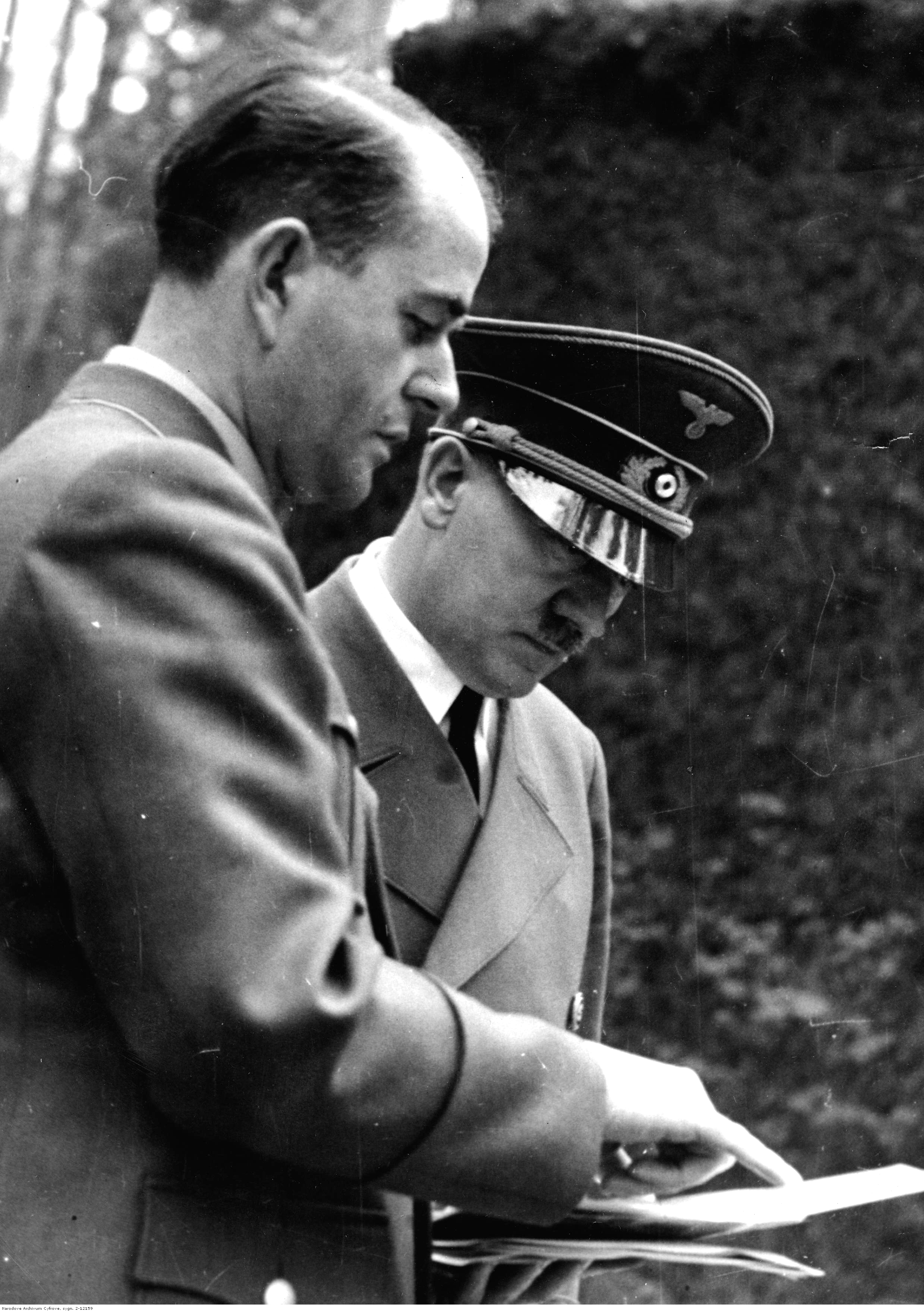 Adolf Hitler in FHQ Wolfsschanze with Reich Minister of Armaments and Munitions Albert Speer