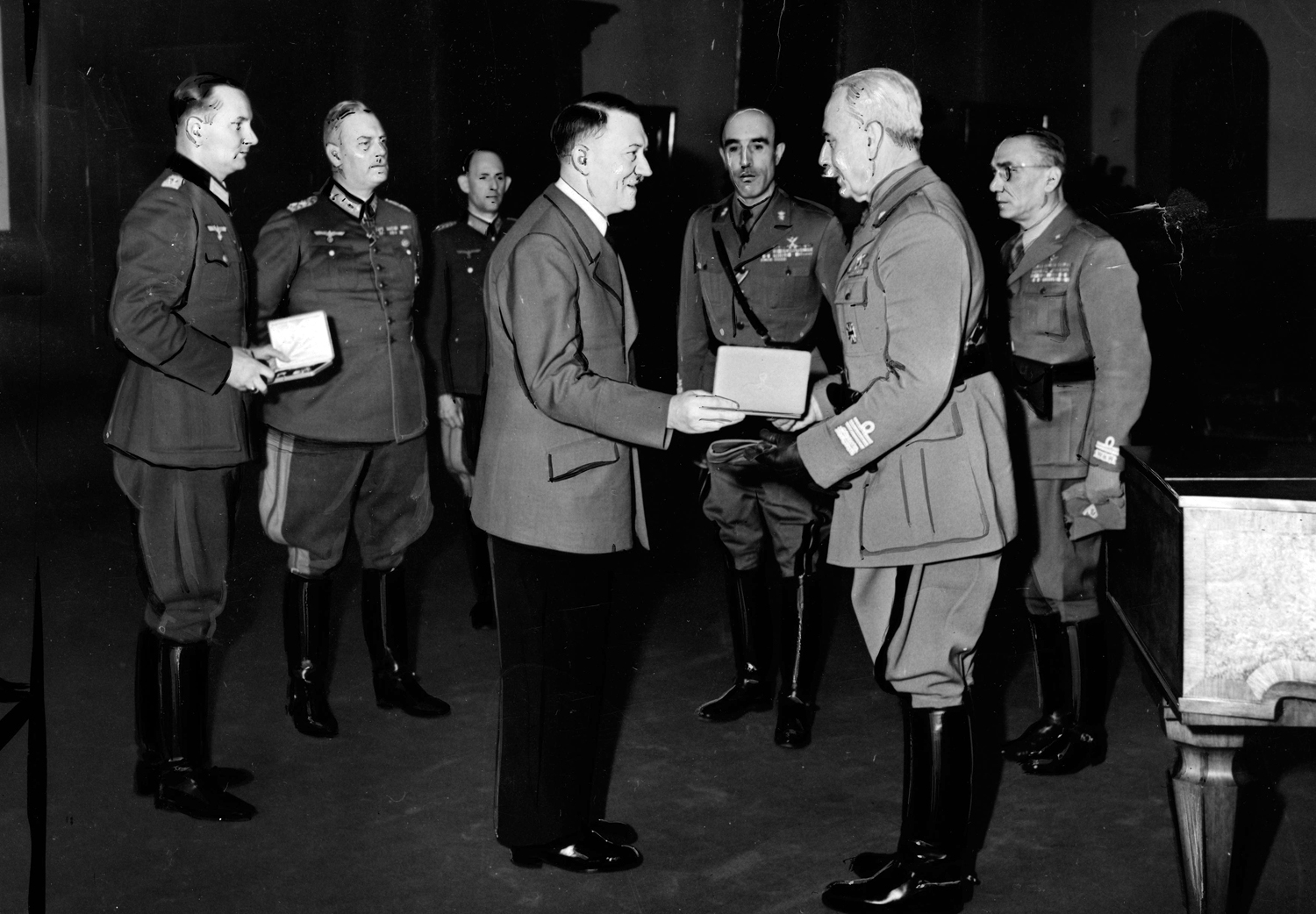 Adolf Hitler awards general Italo Gariboldi with the Knight's cross of the Iron cross at the Berghof