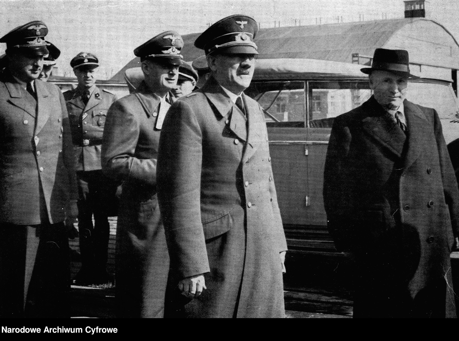 Adolf Hitler and Benito Mussolini at the arrival of the Duce in Wilhelmsdorf after his liberation by the commando led by Otto Skorzeny