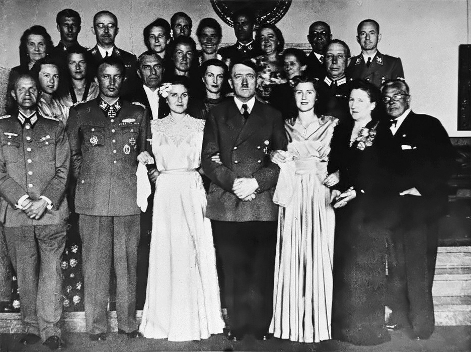 Group photo in the great hall of the Berghof on the occasion of the wedding of Hermann Fegelein and Gretl Braun