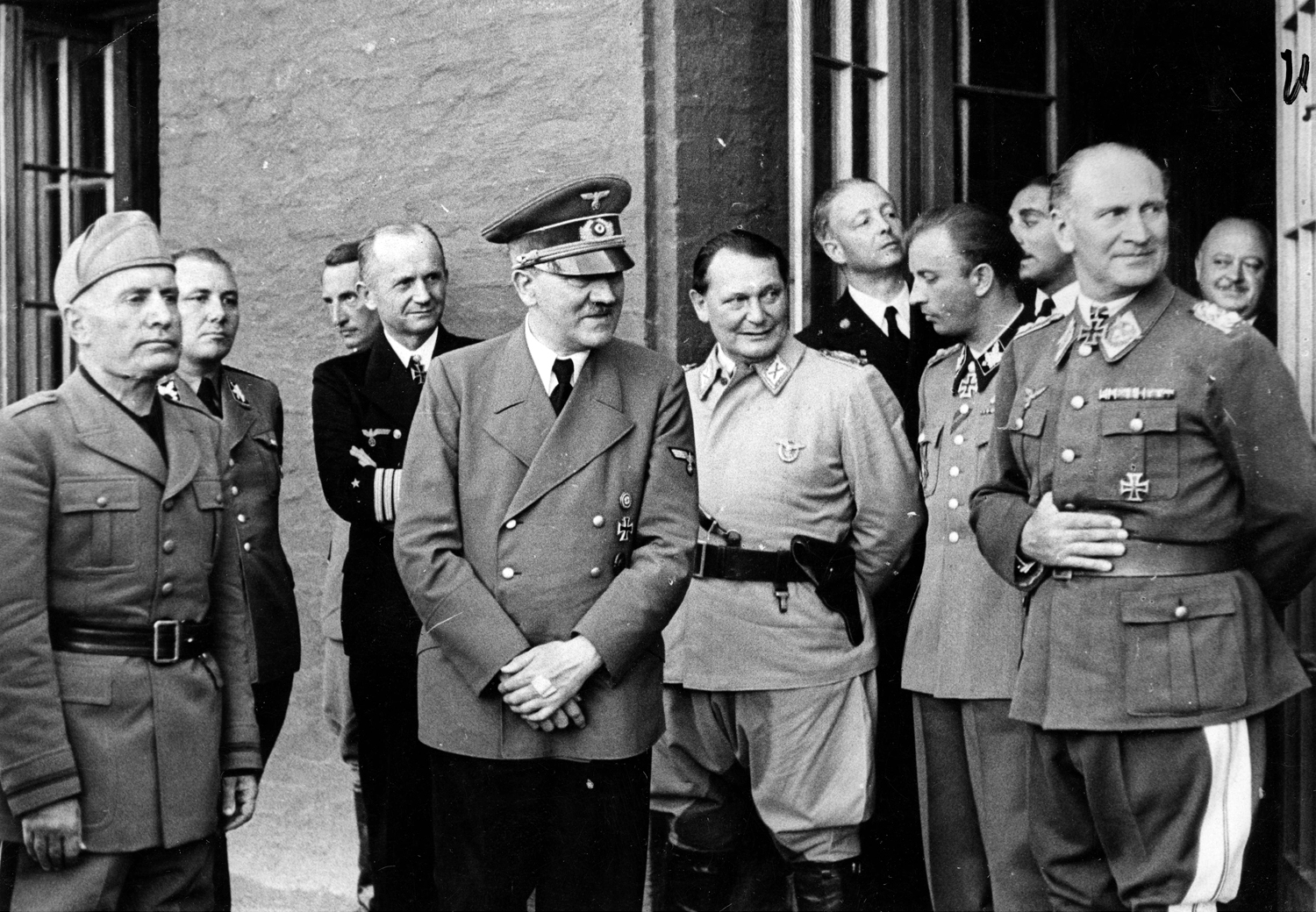 Benito Mussolini with Adolf Hitler and his staff at the Wolfsschanze just after the bomb attack